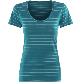 Icebreaker Tech Lite SS Scoop Shirt Women kingfisher-dew-stripe